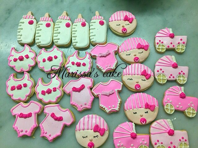 Baby girl baby shower cookies. Visit us Facebook.com/marissa'scake or www.marissascake.com
