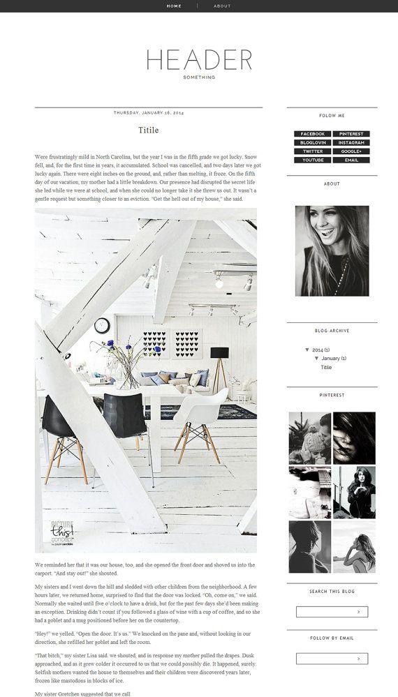 Blogger Template Premade Photography black Blog Design Blog lovin