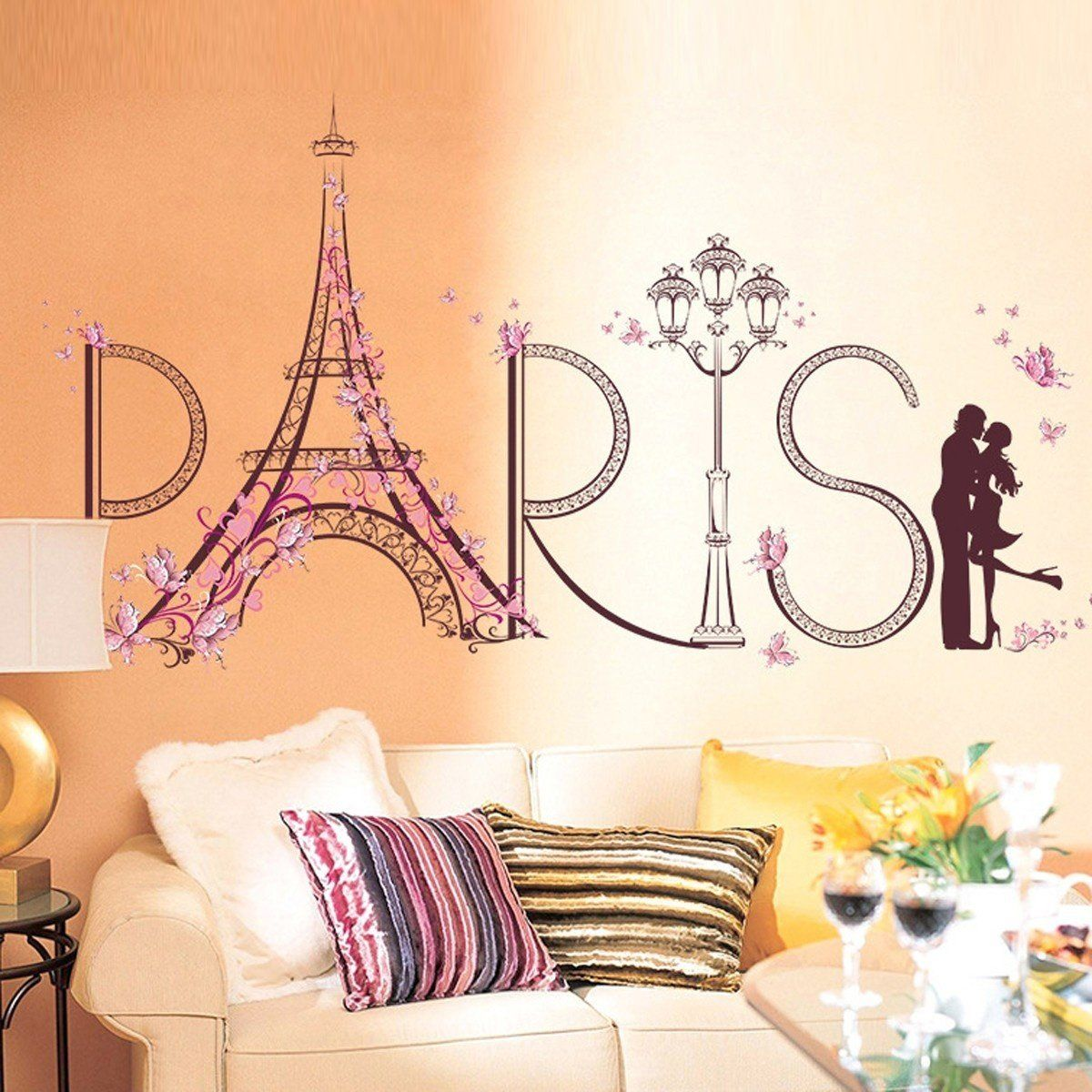 Best 60 90Cm Removable Romantic Paris Wall Stickers For Wall 400 x 300