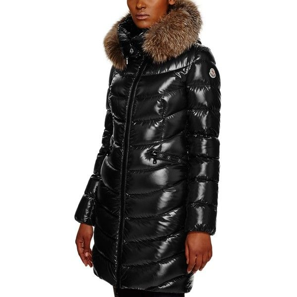 9bb99d9be Moncler Aphia Fox Fur Hood Long Down Coat ($2,060) ❤ liked on Polyvore  featuring outerwear, coats, black, long hooded coat, moncler coats, down  coat, ...