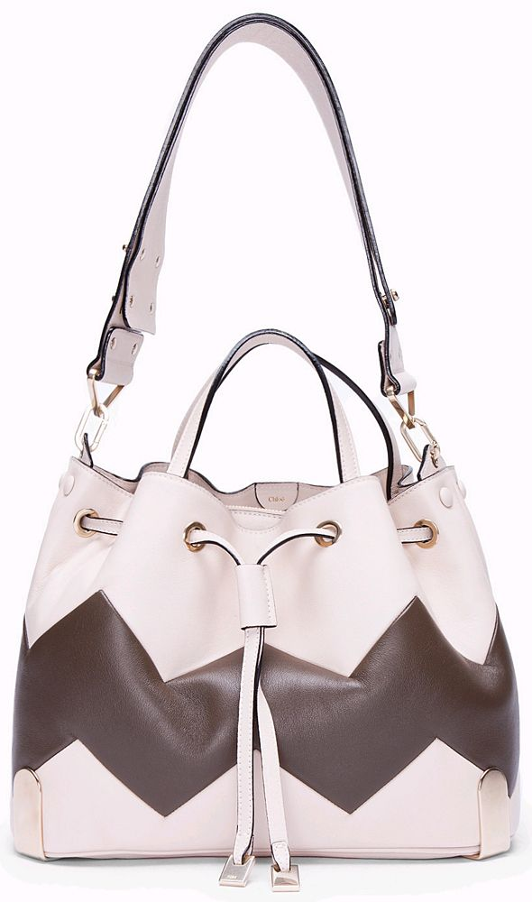 Chloe Ivory Charlie Zigzag Tote with strap