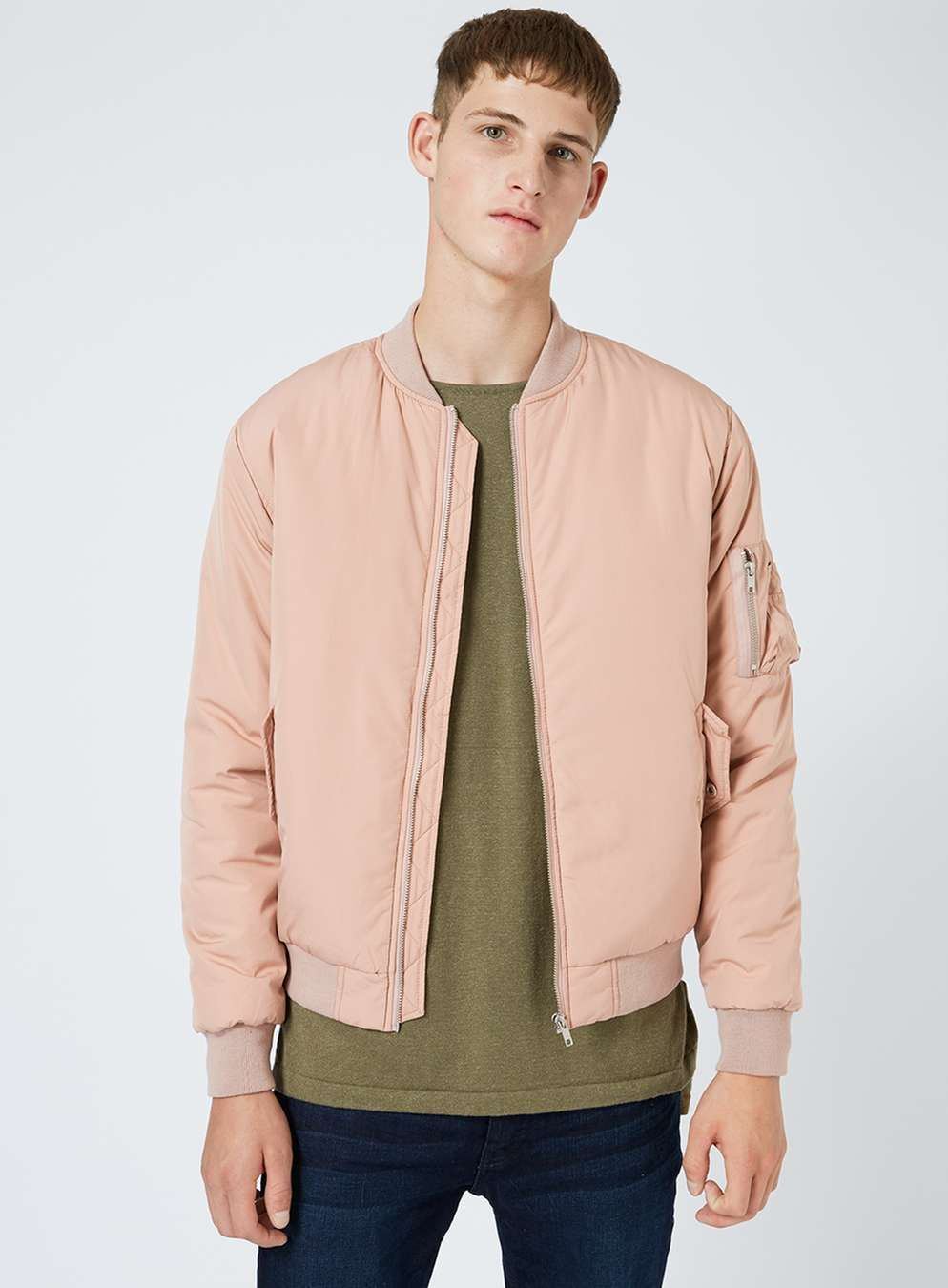 04290a1bd Light Pink Padded MA1 Bomber Jacket in 2019 | atchs | Pink bomber ...
