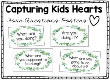 Photo of Capturing Kids Hearts Four Questions Posters – Eucalyptus Wreath/Farmhouse