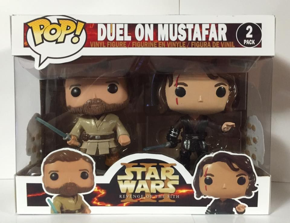 Duel On Mustafar Obi Wan Kenobi Anakin Skywalker From Star Wars Revenge Of The Sith By White Star Customs Custom Funko Pop Funko Pop Collection Custom Funko