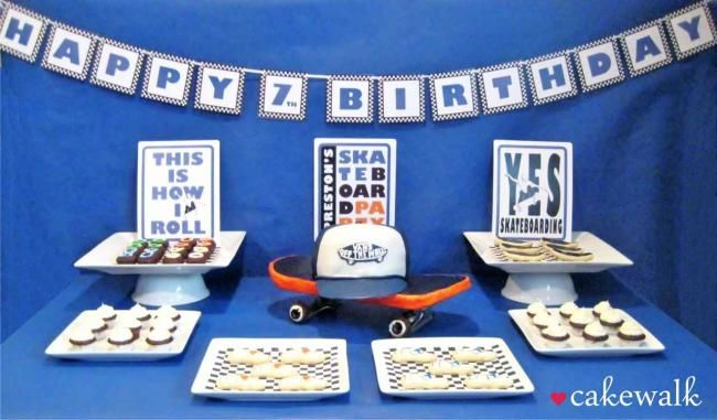 A fabulous skateboarding themed boy's birthday party, with a cool dessert table.