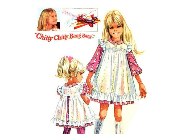 Vintage Girls Jemima Dress and Pinafore Sewing Pattern 1960's Simplicity 8120 Size 3 Chitty Chitty Bang Bang
