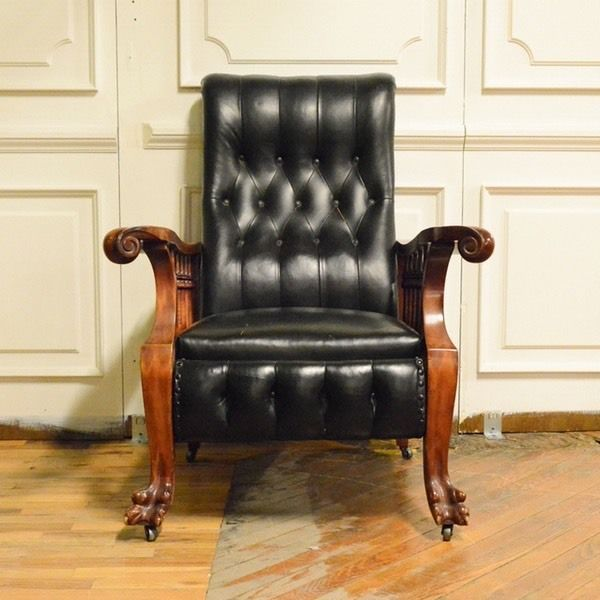 Streit Morris Reclining Chair With Leather Seat - Streit Morris Reclining Chair With Leather Seat Victorian Furniture