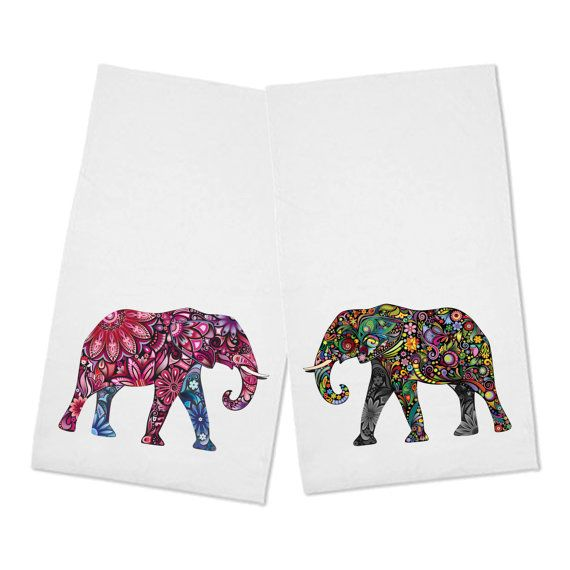 Beautiful Set Of 2 Floral African Elephant Kitchen Tea Towels Our White Tea  Towels Are 100% Cotton, Hemmed On All 4 Sides And Measure 20 X