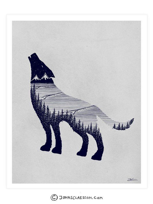 05302abf8f182 Wolf Dreams Art Print   * - a_ dla mnie   Art, Wolf tattoos, Tattoo ...