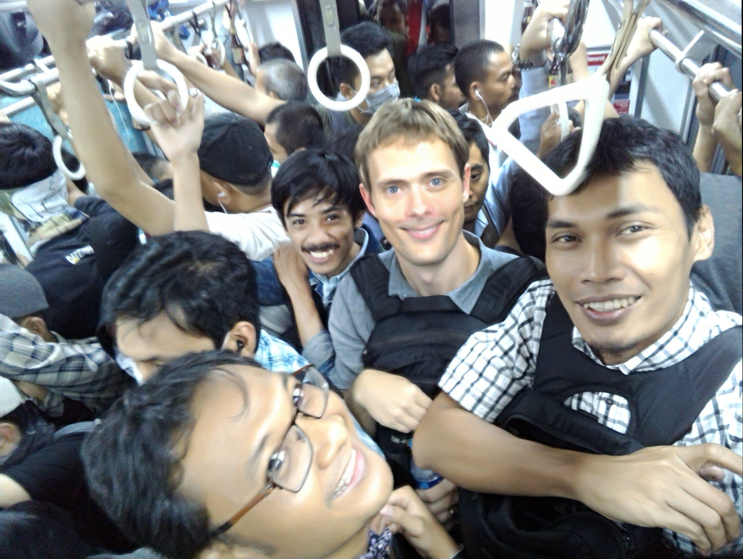 Simon with #Moovit guys enjoying #Jakarta commuter line
