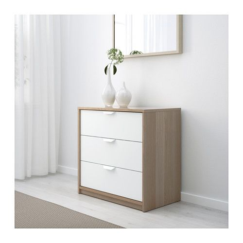 white 3 drawer chest. ASKVOLL 3-drawer Chest, White Stained Oak Effect, Effect/white 27 1/2x27 1/8 3 Drawer Chest