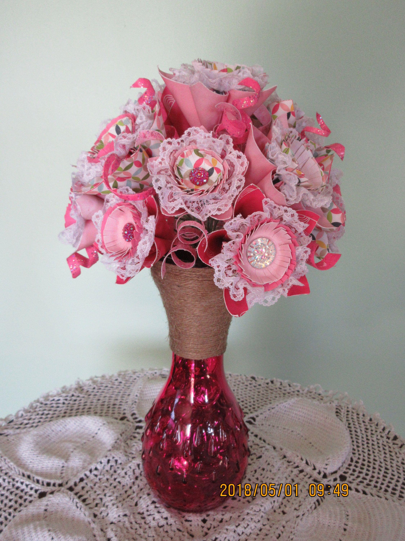 Origami Paper Flower Bouquet Paper Flower Arrangement Pink Paper