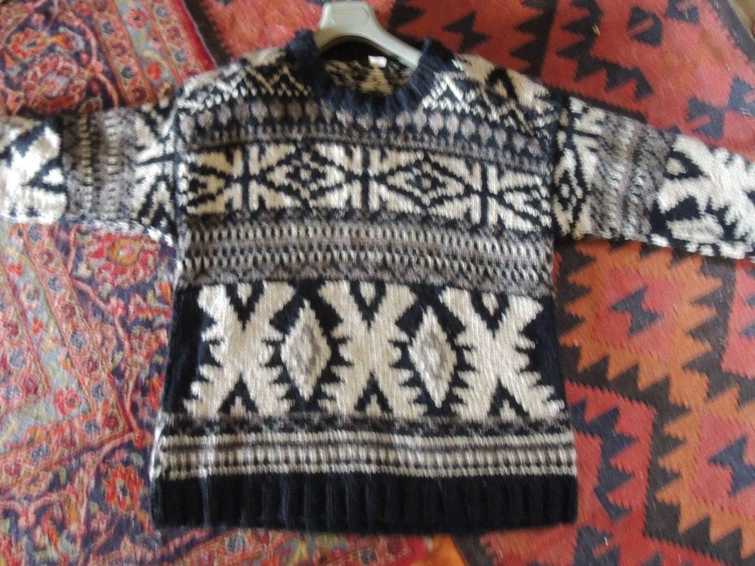 Vintage 80s nepalese wool sweater / hippie trail slouchy oversized ...