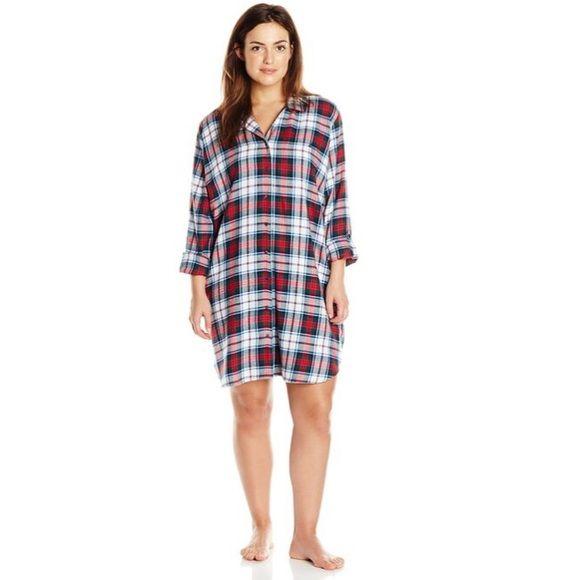 Nautica Plus Size sleepwear Plaid Nautical women's sleepwear, flannel boyfriend shirt. Never worn. NWOT. Nautica Intimates & Sleepwear Pajamas