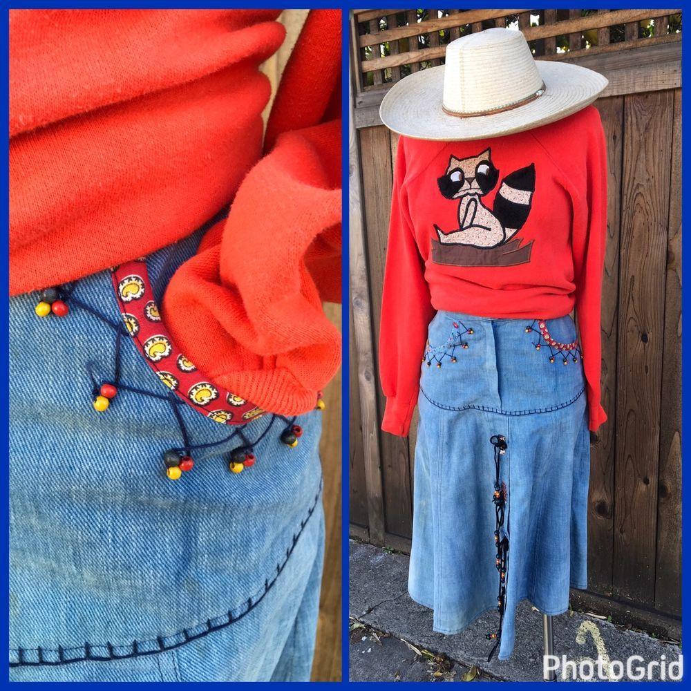 Vintage 70s Hippie Skirt Denim Boho Beads Patchwork High Waist Jean Skirt S    eBay