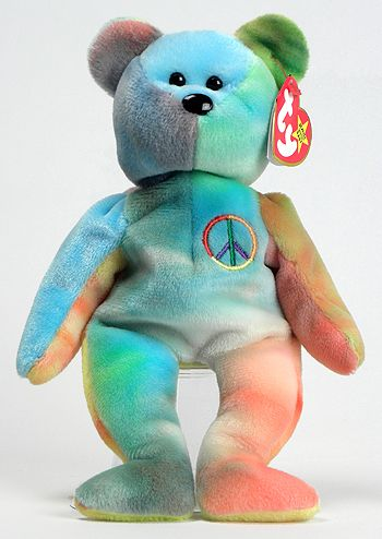 a863407dfe8 Peace - Bear - Ty Beanie Babies... EVERY KID WANTED ONE OF THESE! I had a  TON of them.