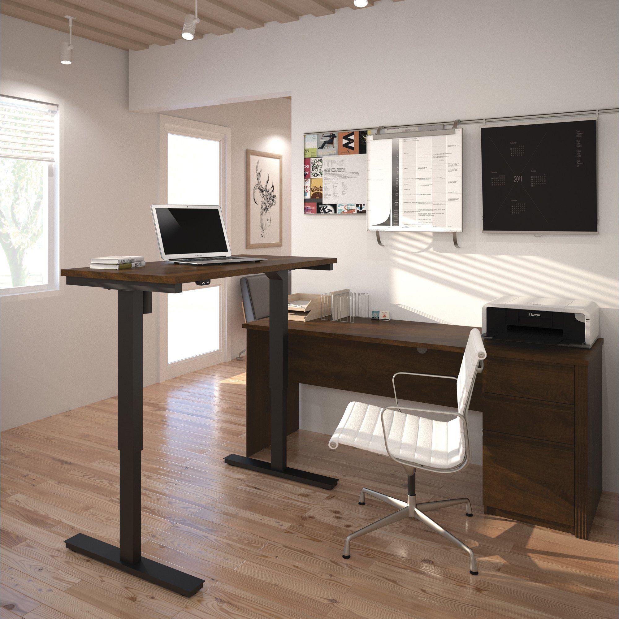 bormann l shape standing desk with height adjustable table desks