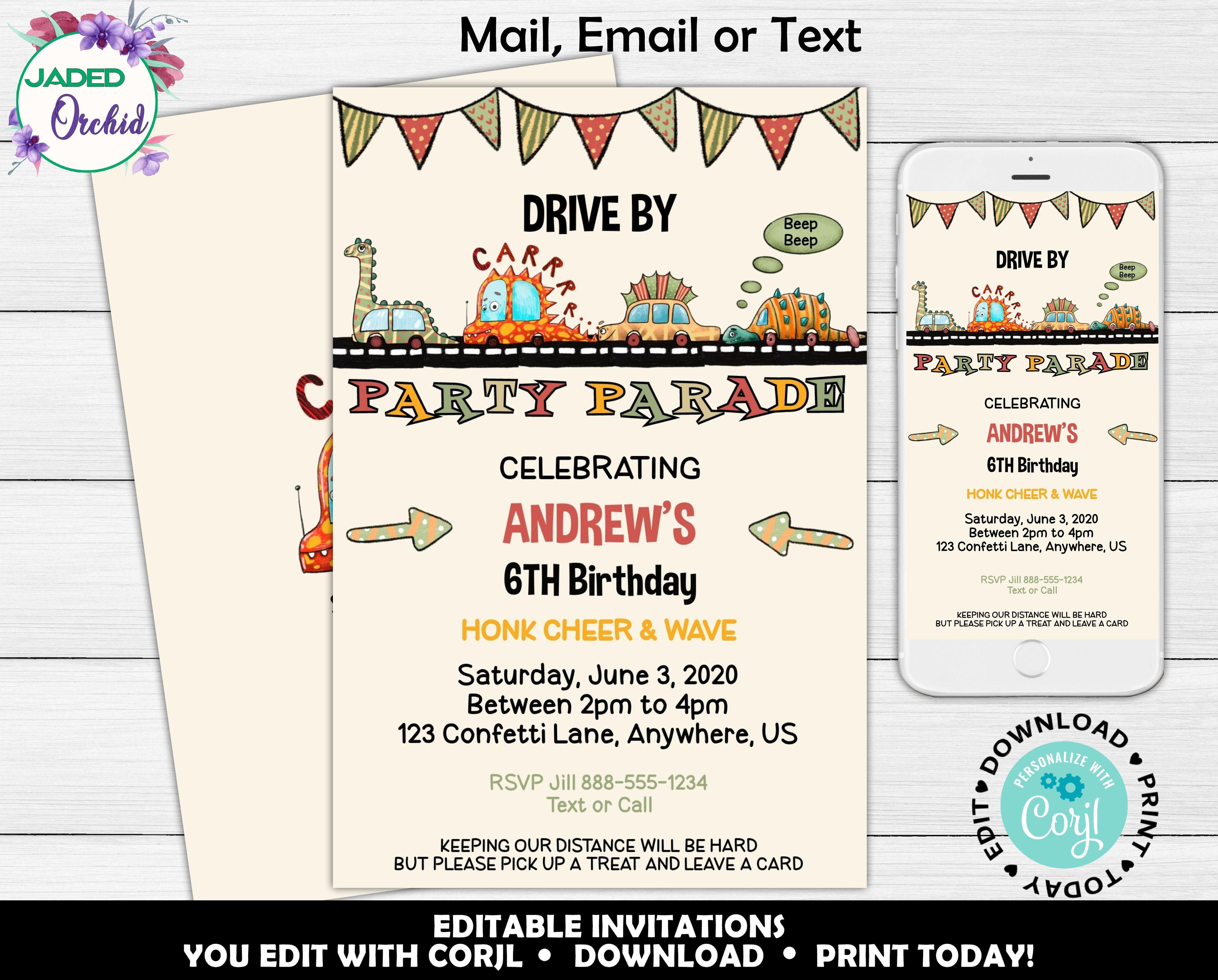 Printable Boys Party Parade Birthday Invite Drive By