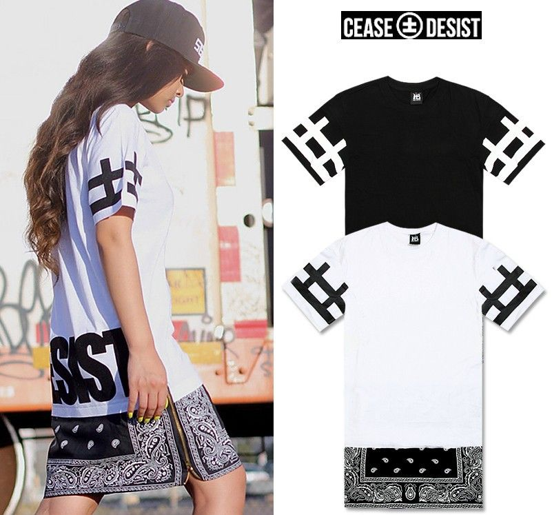 New hot top cease desist side zipper lengthen bandana tshirt men new hot top cease desist side zipper lengthen bandana tshirt men women short sleeve t shirt fashion trend dress short tee 2014 thecheapjerseys Image collections