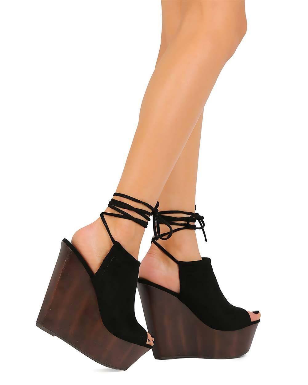 ae8c0906267 New Women Wild Diva Arina-05 Peep Toe Wrap Wooden Mule Wedge Sandal ...