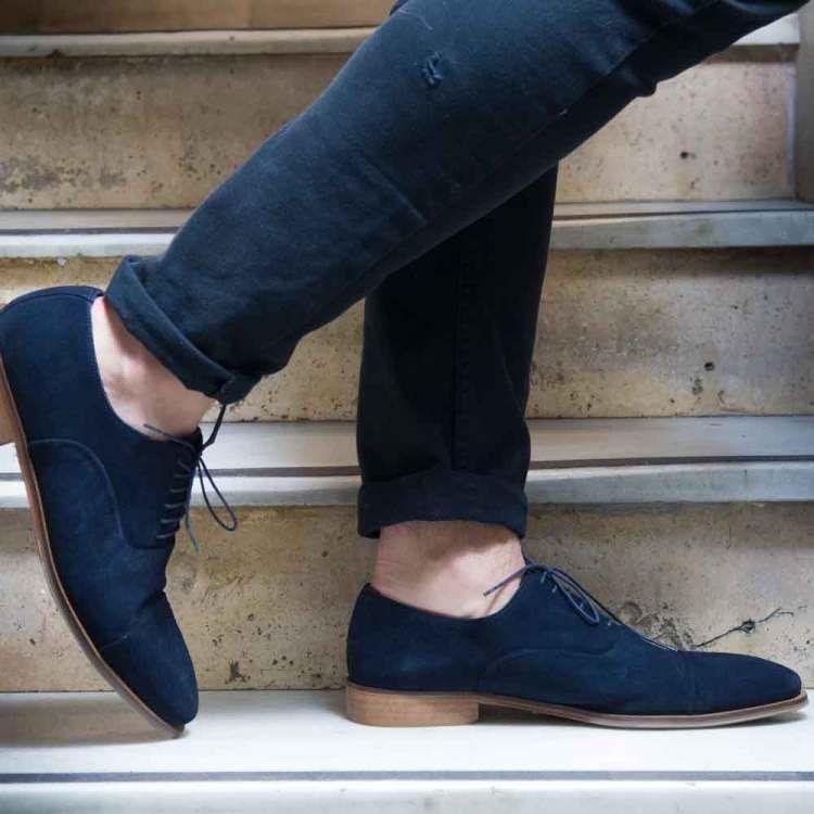 Blue Suede Oxford shoes for men Corso