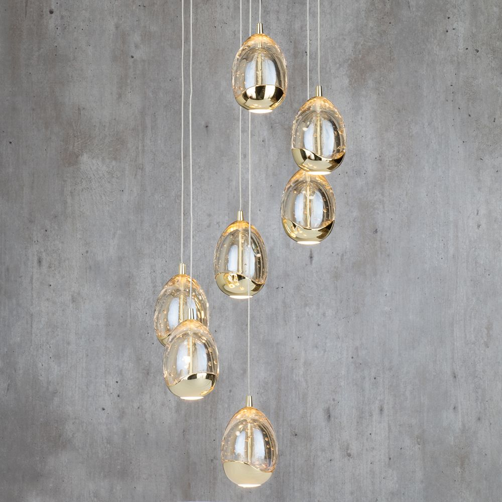 Bulla 7 light led spiral cluster ceiling light gold ceiling bulla 7 light led spiral cluster ceiling light gold from litecraft mozeypictures Images