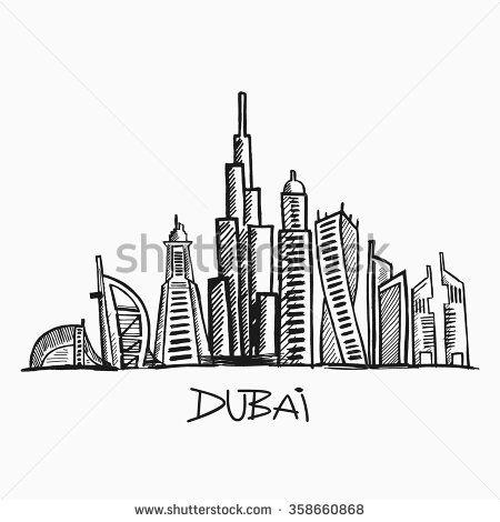 Vector Illustration Dubai Skyline Landmark Building Vector Skyline Drawing Doodle Art Drawing Drawings