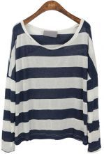 Navy White Stripes Batwing Sleeve Knitted T-shirt $30.24
