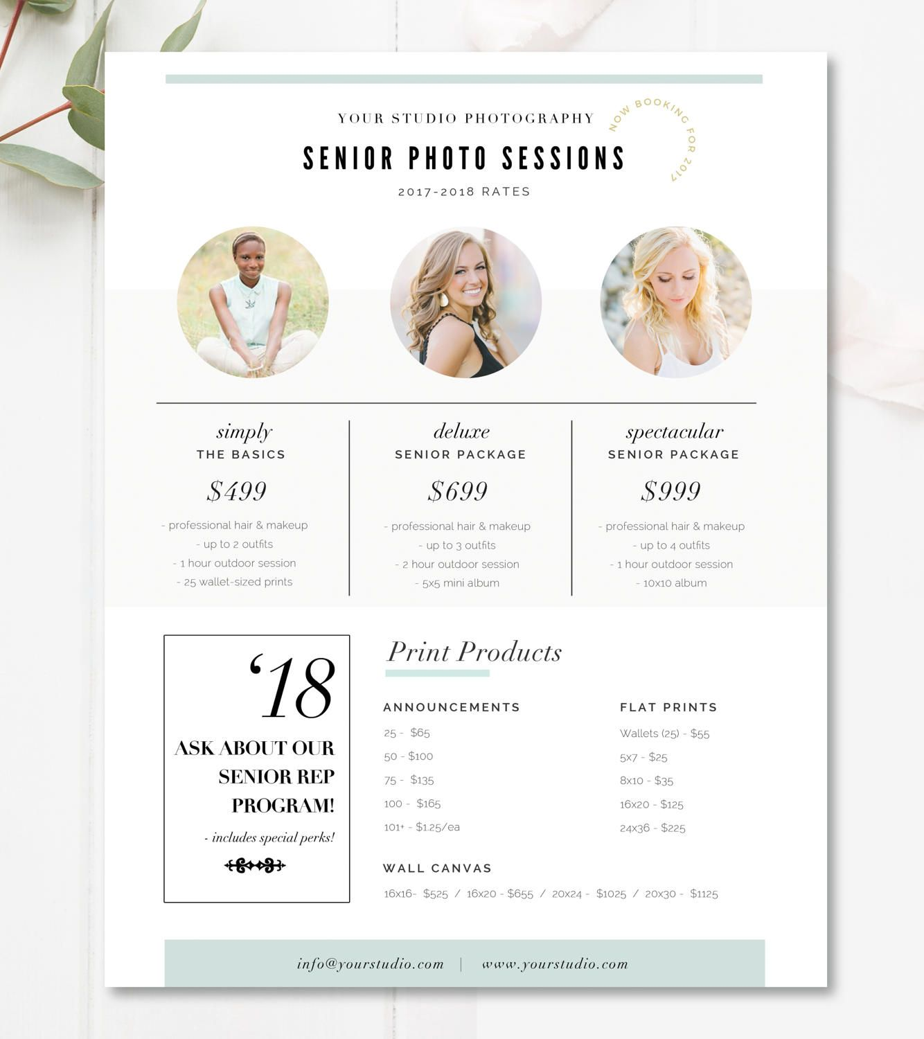 Senior Pricing Template Photography Pricing Guide
