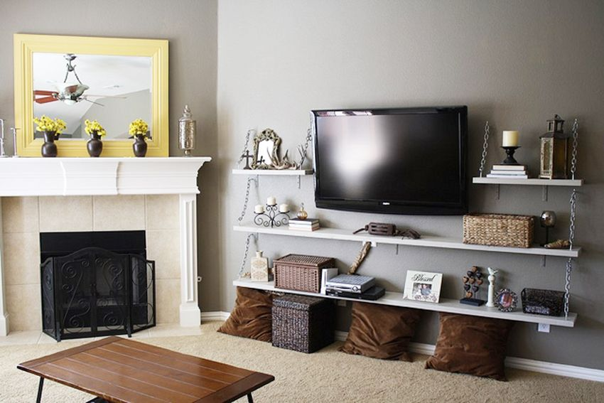 DIY Living Room Media Shelves by Life Thru a Linds