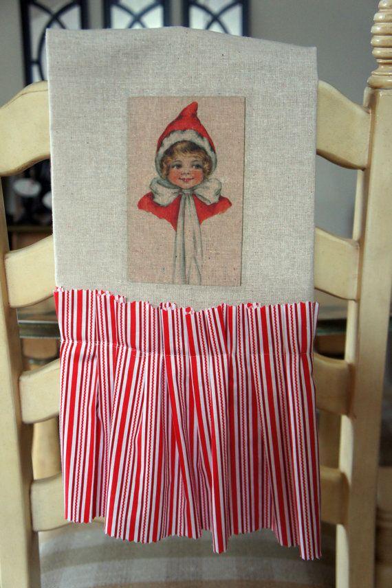 Vintage Girl Christmas Tea Towel by kathycreativehome on Etsy, $10.00