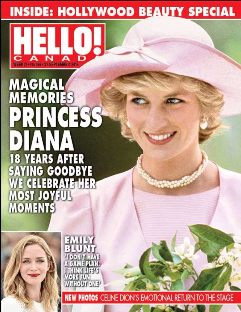 Princess Diana On The Cover This Weeks Hello Issue For Canada Prenses Diana Diana Prenses