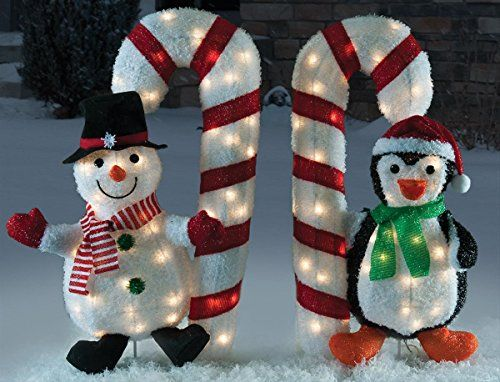 """Outdoor Christmas Decorations Candy Canes 32"""" Snowman & Penguin Holding Candy Cane Decoration  Httpwww"""