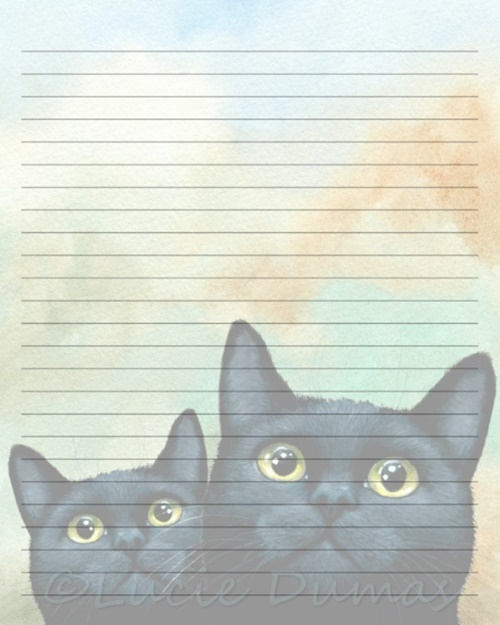 digital printable journal writing lined page black cat 607