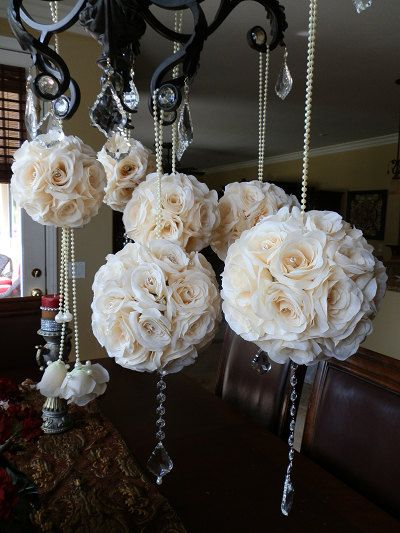 6 Pomanders Kissing Balls Flower Balls Set Of 6 Mixed Sized Embellished Pomanders With Crystal Draping Accents And Pearl Handle Decor Wedding Decorations Pomander Wedding Pink Wedding Flowers