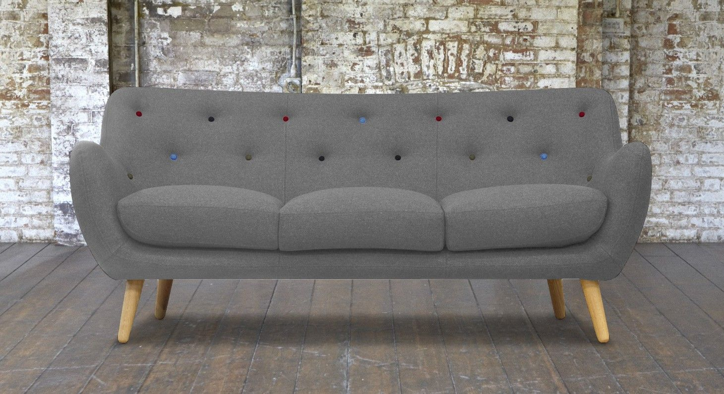 Sofas And Stuff Ronaldsay Kennington Grey Sofa With Multi Coloured Buttons Sofasandstuff