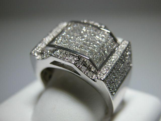 Diamond Mens Pinky Ring 14k White Gold & Diamonds Princess