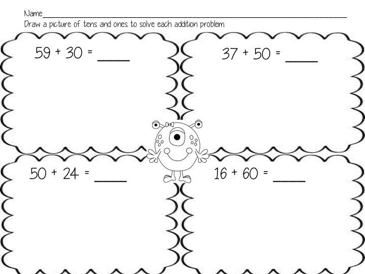 Worksheets to use to introduce adding two digit numbers to – Adding 2 Digit Numbers Worksheets
