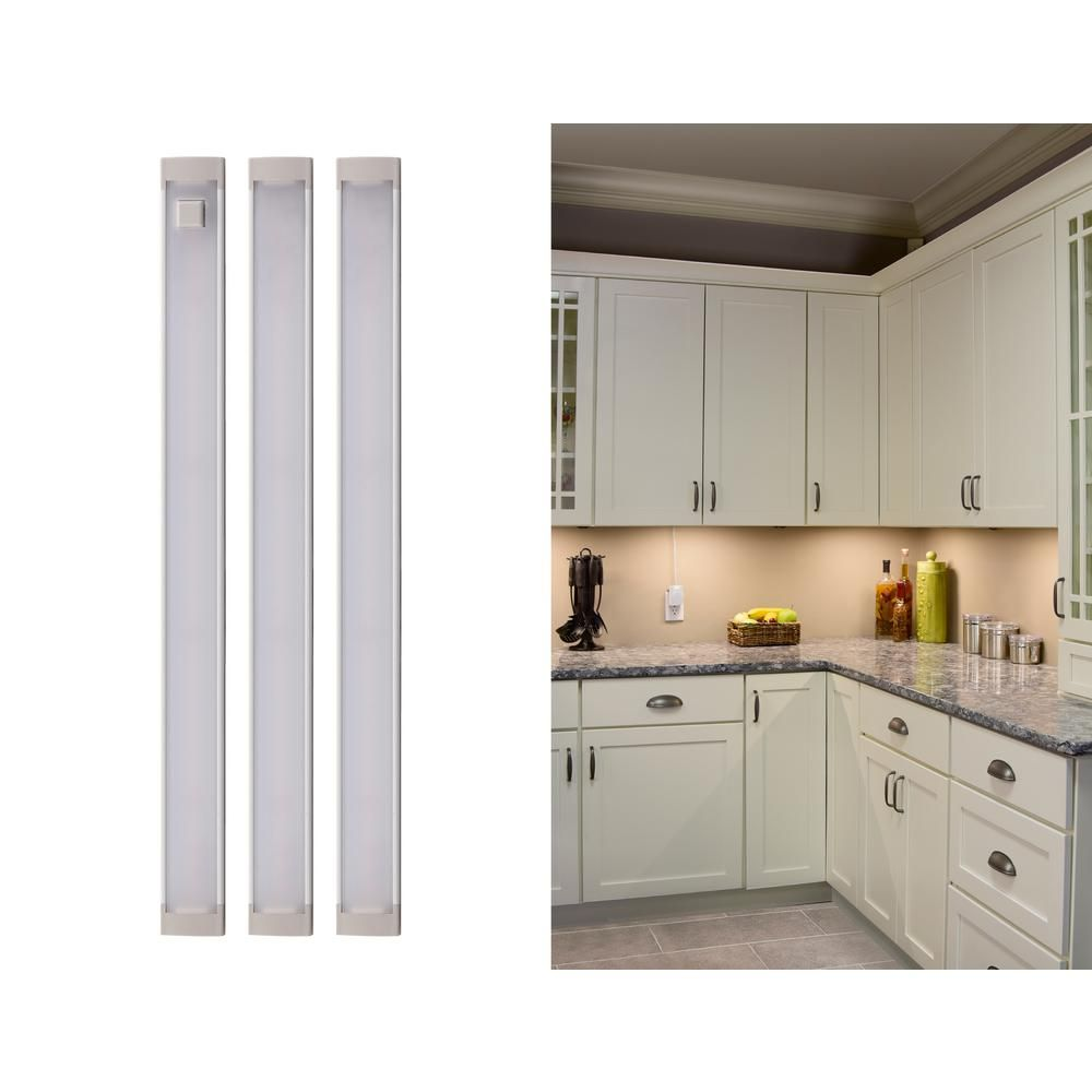 Black Decker 9 In Led Warm White 2700k Dimmable 3 Bar Under Cabinet Lights Kit With Hands Free On Off Tool Free Plug In Install Leduc9 3wk The Home Depot Under Cabinet Lights Under Cabinet Lighting Cabinet Lighting
