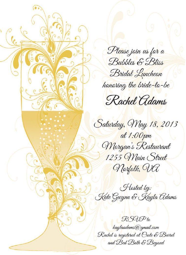 Bridal Shower Dinner Invitation Wording Luncheon
