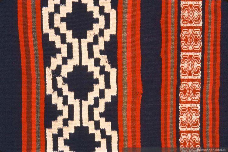 Resultado de imagen para de makuñ, poncho con tejido ñimin y wirin de colores chile