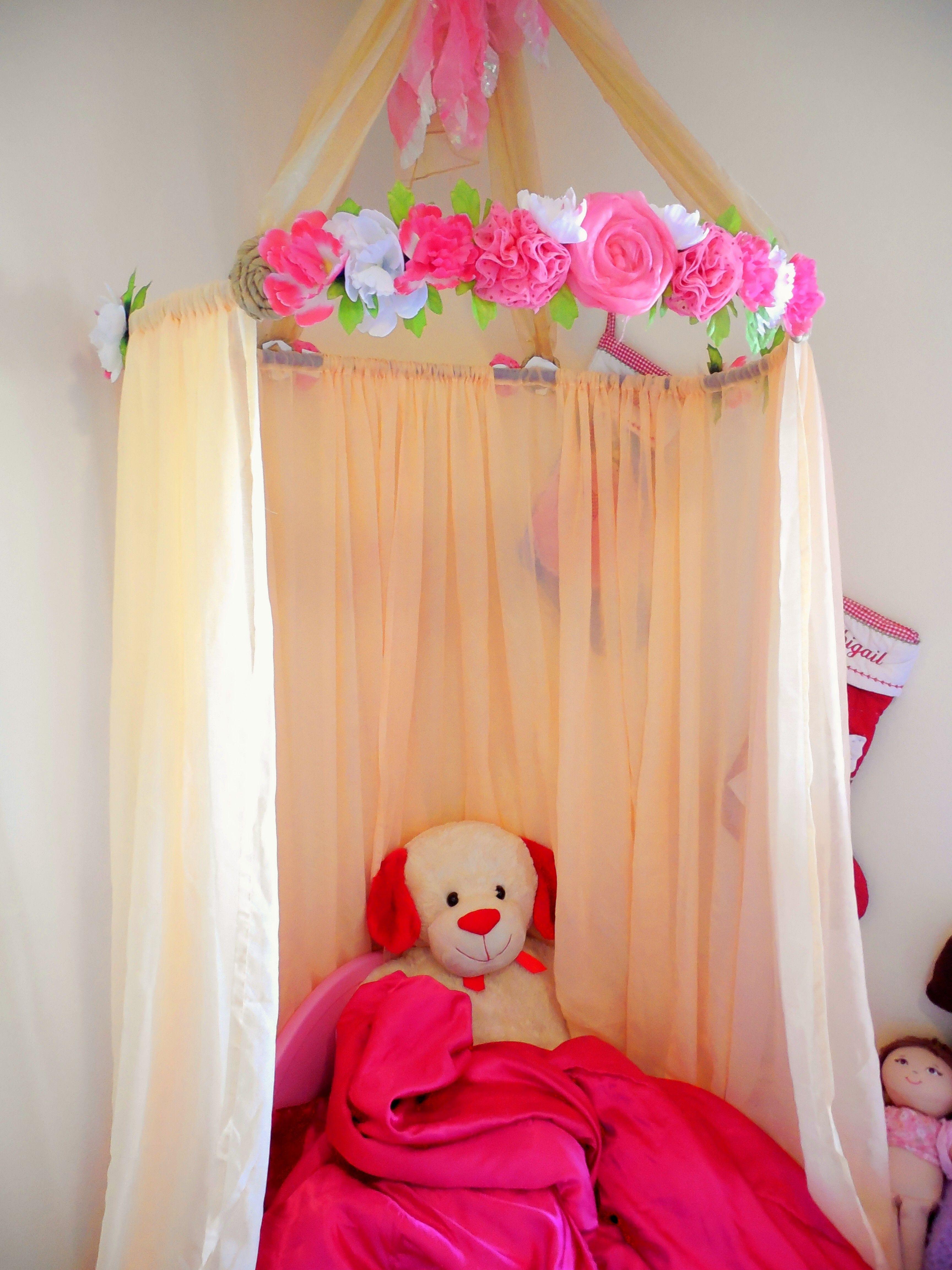 Girlie DIY flower hanging tent  hangs from ceiling ( MATERIALS hoop flowers made & Girlie DIY flower hanging tent  hangs from ceiling ( MATERIALS ...