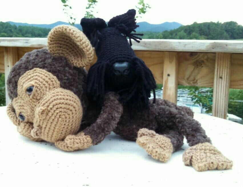 Fuzzy Monkey and his Scottie buddy, Angus... Always available to be made to order - just let me know! www.etsy.com/shop/CarrollHillFarm www.facebook.com/CarrollHillFarm