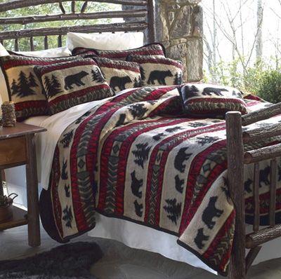 Cabin Bedspread Bear Adventure Fleece Bedding Set Cabin Bed