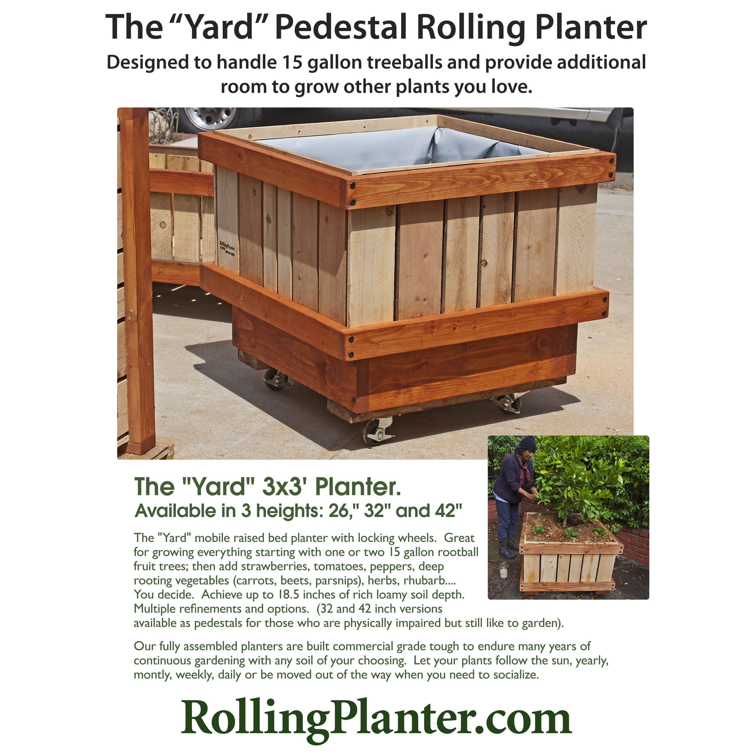 Rolling Yard Pedestal Planter 3x3 X34 Everything Planter Built For 15 Gallon Dwarf Tree Rootballs Planter Is Planter Design Raised Planter Beds Planters