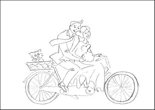 Free printable wedding coloring page cute couple on the bike ...