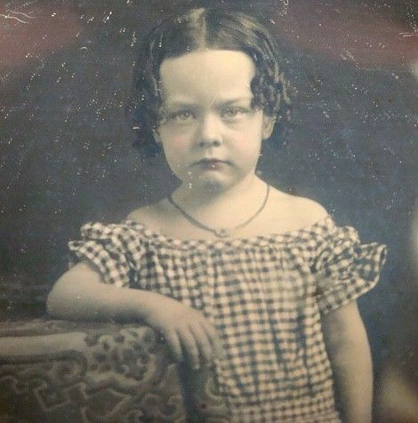 1 6th Plate Daguerreotype Dag of Girl Checkered Dress Necklace Pink Cheeks | eBay