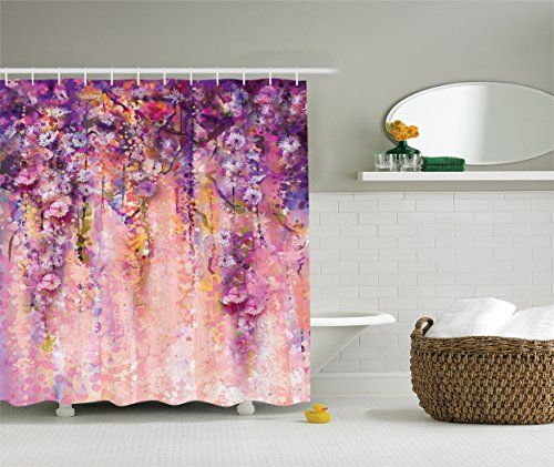 Ambesonne Watercolor Flower Decor Collection Wisteria Tree In