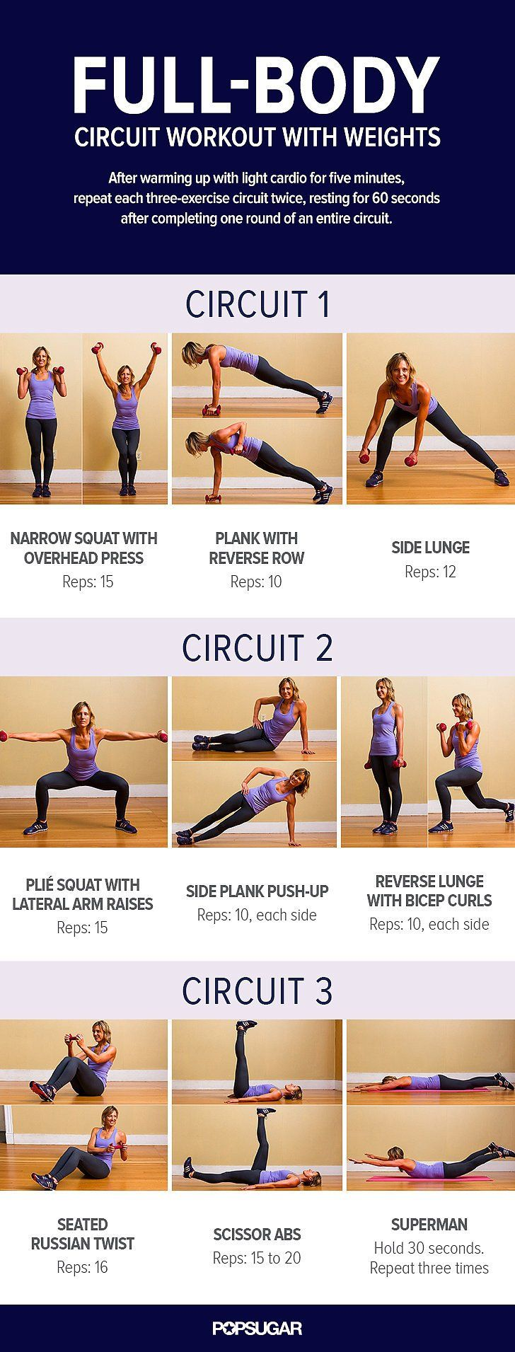 Fullbody circuit workout with weights tone up poster and workout