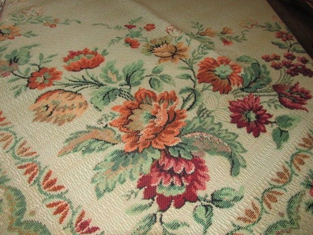Vintage 1950s Damask Tapestry Table, Bed, Duvet Cover Floral Wall Hanging
